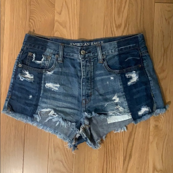 American Eagle Outfitters Pants - AE Ripped Two-tone Jean Shorts